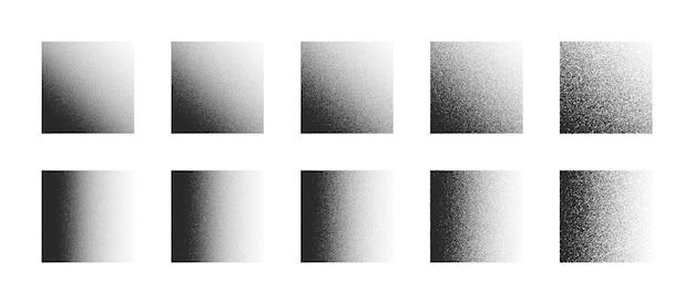 白い背景の上のさまざまなバリエーションで設定された点描正方形手描きドットワーク抽象的な形