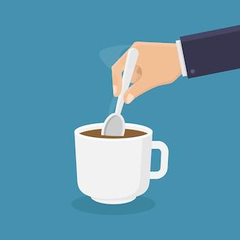 숟가락으로 커피를 저어주세요.