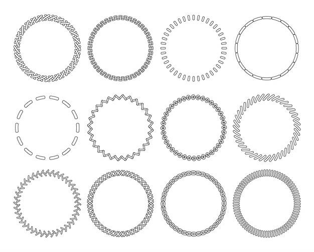 Stitch round border brushes.  contour frames set