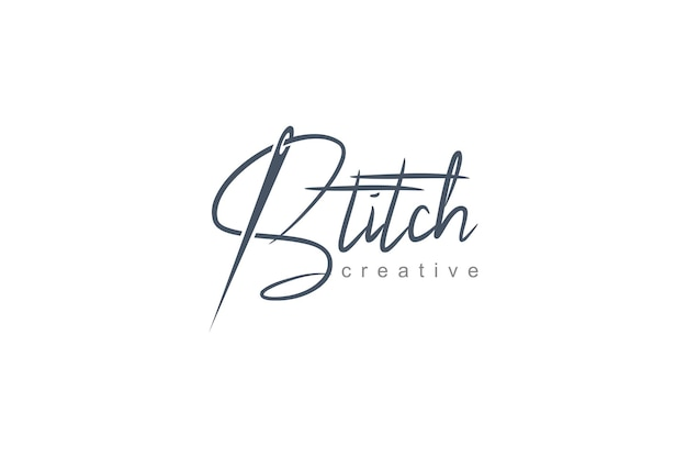 Stitching logo vector template. simple and minimalistic logo design illustration sewing needle