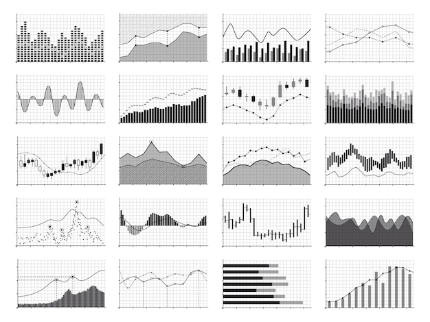 Stock analysis graphics or business data financial charts isolated