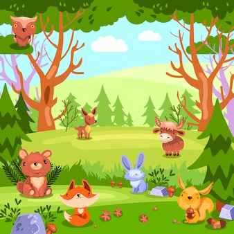 Stock colorful  background with forest landscape and wild baby animals.