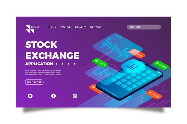 Шаблон целевой страницы приложения фондовой биржи