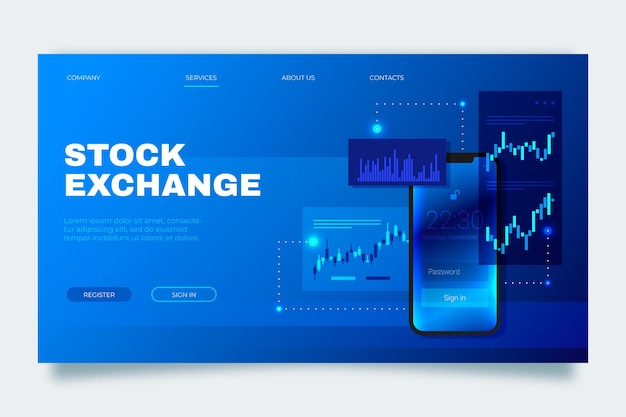 Stock exchange application landing page template