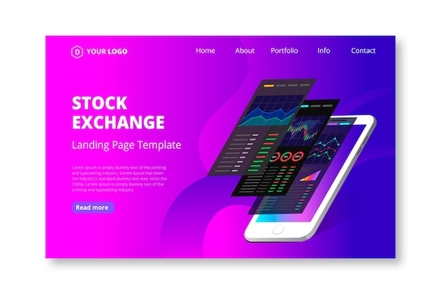 Stock exchange application landing page