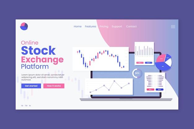 Целевая страница приложения фондовой биржи