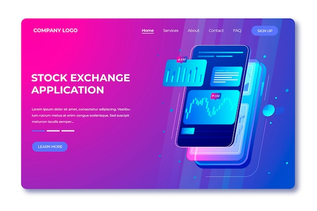 Stock exchange application landing page