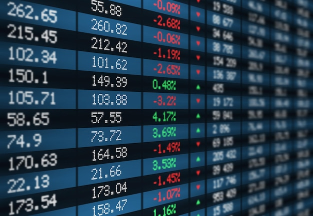 Stock exchange board display with financial market index charts and graphs