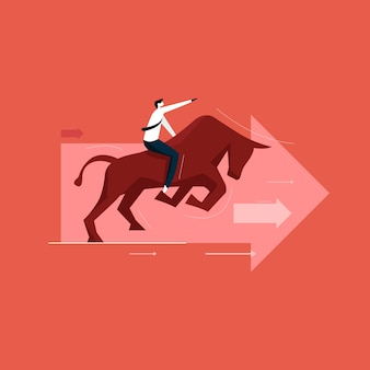 Stock exchange and bull market concept