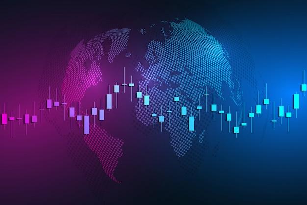 世界地図を使った証券取引所チャート市場投資取引。取引プラットフォーム。ビジネスグラフ。図