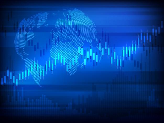 世界地図を使った証券取引所チャート市場投資取引。取引プラットフォーム。ビジネスグラフ。