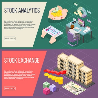 Stock exchange isometric  banner set