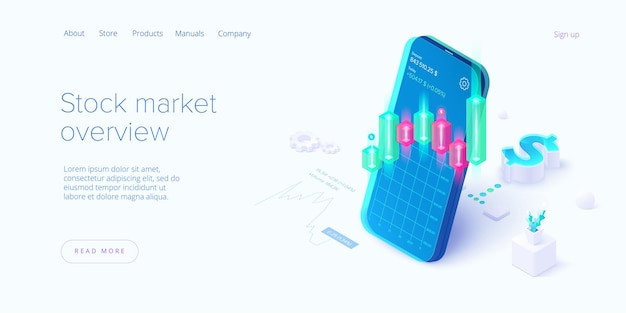 Stock exchange in isometric design. trading market or investment mobile app.