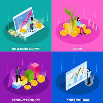 Stock exchange isometric icon set with investment growth money currency and stock exchange descriptions illustration
