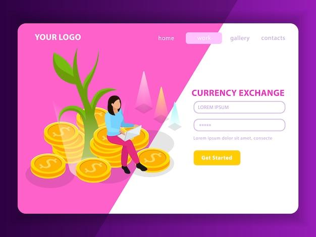 Композиция изометрической целевой страницы фондовой биржи с регистрационной формой под названием обмен валюты и иллюстрация кнопки начала