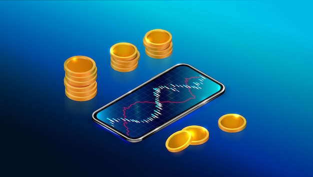 Stock exchange market or return on investment with mobile app.