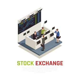 Stock exchange office reception desk service for mutual funds managers and individual investors isometric composition
