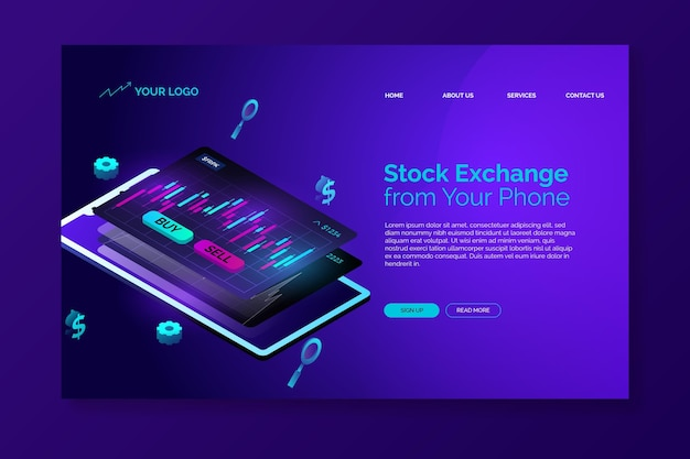 Stock exchange platform landing page template