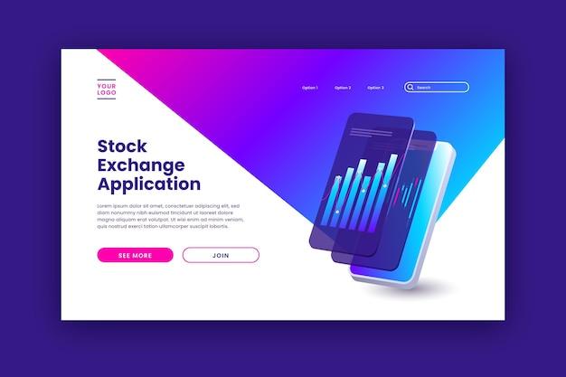 Stock exchange platform landing page template