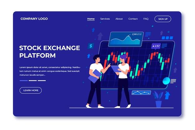 Stock exchange platform landing page