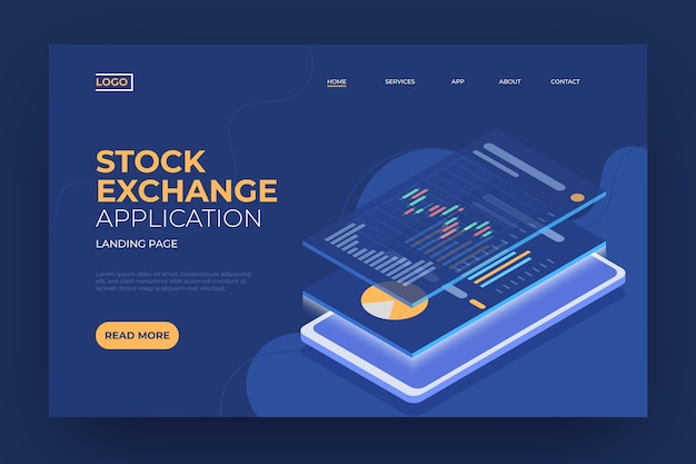 Stock exchange platform template landing page