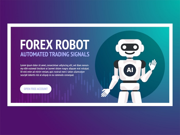 Stock exchange trading robot banner. forex market. forex trading. technologies in business and trading. artificial intelligence. equity market. business management.