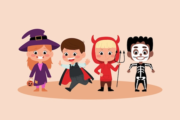Stock photography 할로윈 어린이 의상입니다. 마녀, 드라큘라, 해골 및 악마 파티 드레스.