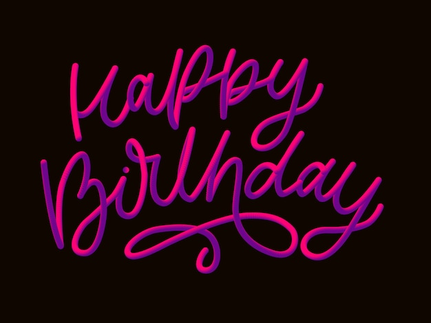Stock  illustration defocused happy birthday font with letters. glossy pink paint letters. happy birthday -style render of bubble font with glint.