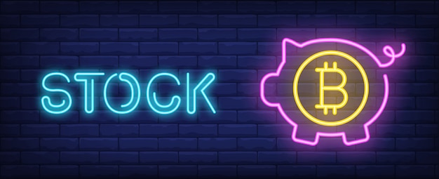 Stock illustration in neon style. text, pink piggy bank with bitcoin symbol
