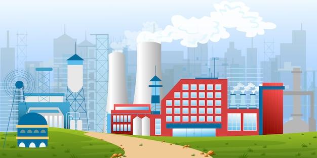 フラットスタイルの風景の中の工場、工場、倉庫、企業の工業地帯のイラスト。