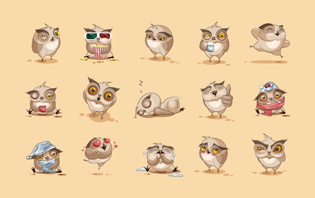 Фондовый иллюстрации изолированных emoji персонаж мультфильма сова наклейки смайлики с разными эмоциями