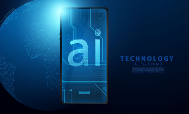 Stock market ai phone, economic graph with diagrams, business and financial concepts and reports, abstract technology communication concept background