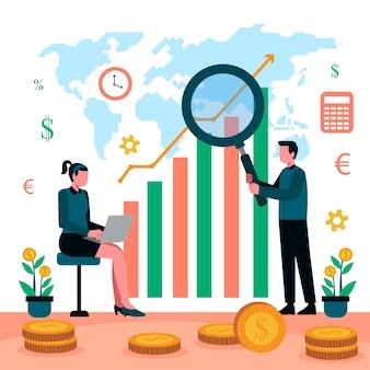 人と株式市場分析イラスト
