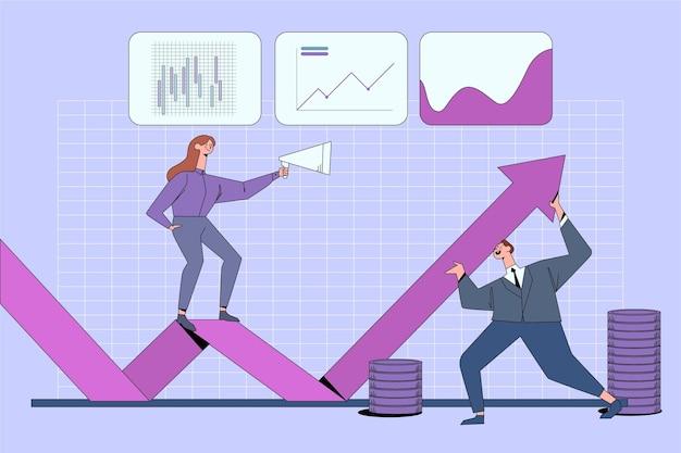 Анализ фондового рынка с графиком и людьми