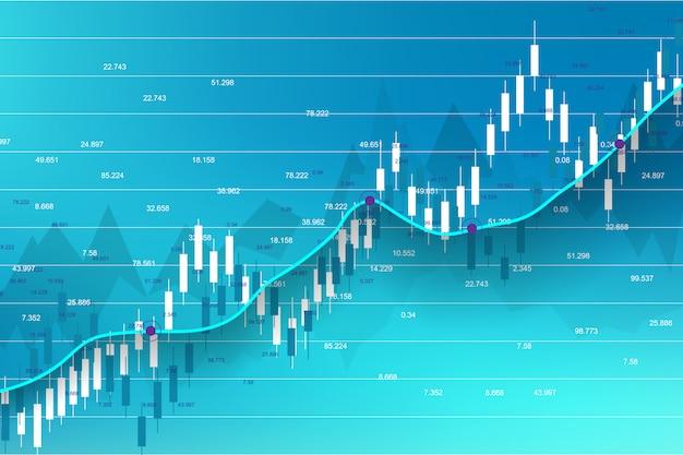 株式市場と取引所。株式市場投資取引のビジネスキャンドルスティックグラフ。株式市場データ。強気な点、グラフのトレンド。