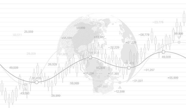 주식 시장 및 교환 캔들 스틱 그래프 차트 벡터입니다. 금융 투자 또는 경제 동향 사업 아이디어에 대한 미래 개념의 주식 시장 또는 외환 거래 그래프. 금융 무역 개념입니다.