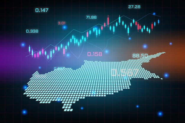 Stock market background or forex trading business graph chart for financial investment concept of cyprus map. business idea and technology innovation design.