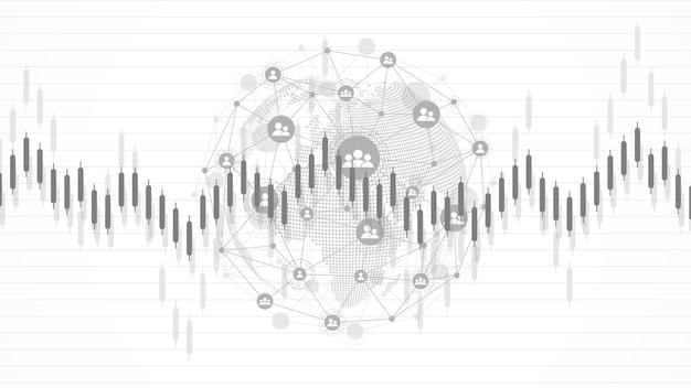Фон фондового рынка или диаграмма бизнес-графика форекс для концепции финансовых инвестиций. бизнес-презентация для вашего дизайна. тенденции экономики, бизнес-идеи и дизайн инновационных технологий.