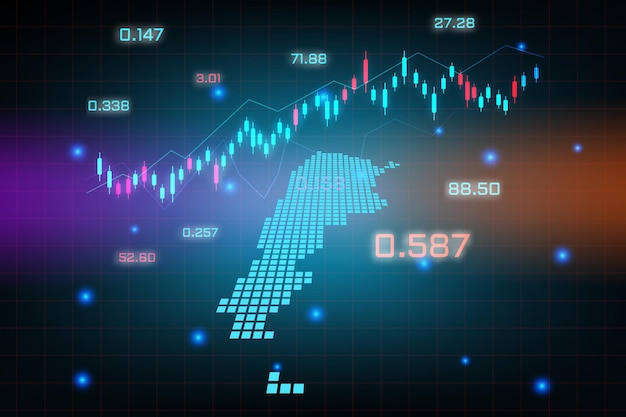 Фон фондового рынка или форекс-трейдинг бизнес-диаграмма для концепции финансовых инвестиций карты аргентины. бизнес-идея и дизайн инновационных технологий.