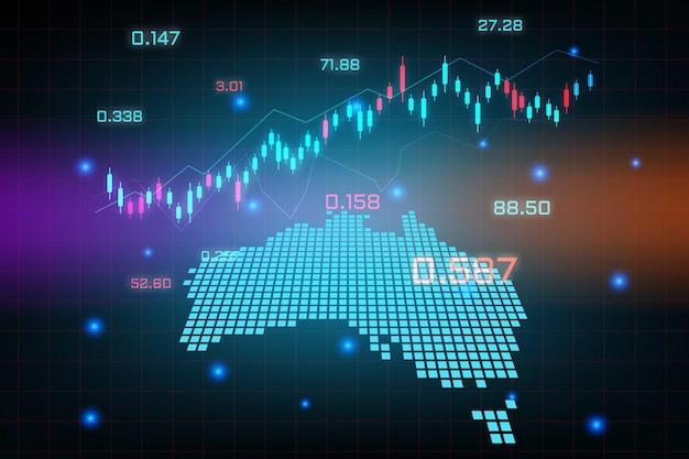 Фон фондового рынка или форекс-трейдинг бизнес-диаграмма для концепции финансовых инвестиций карты австралии. бизнес-идея и дизайн инновационных технологий.