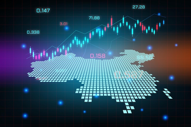 Фон фондового рынка или форекс-трейдинг бизнес-диаграмма для концепции финансовых инвестиций карты китая. бизнес-идея и дизайн инновационных технологий.