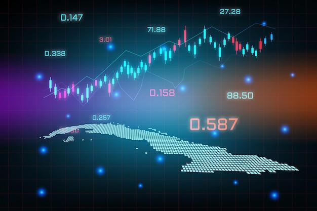 キューバマップの金融投資コンセプトの株式市場の背景または外国為替取引ビジネスグラフチャート。ビジネスアイデアと技術革新の設計。