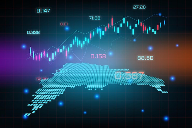 Фон фондового рынка или форекс-трейдинг бизнес-диаграмма для концепции финансовых инвестиций карты доминиканской республики.