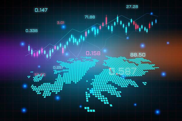Фон фондового рынка или диаграмма бизнес-графика форекс для концепции финансовых инвестиций карты фолклендских островов.