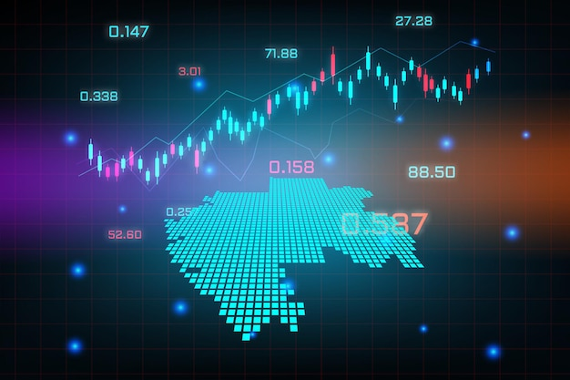 Фон фондового рынка или диаграмма бизнес-графика форекс для концепции финансовых инвестиций карты габона.