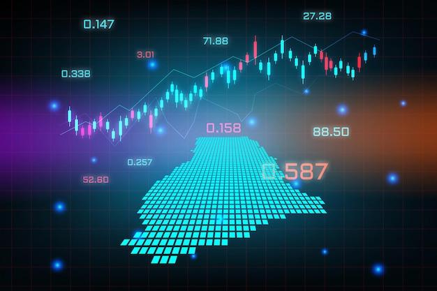ガーナマップの金融投資コンセプトの株式市場の背景または外国為替取引ビジネスグラフチャート。