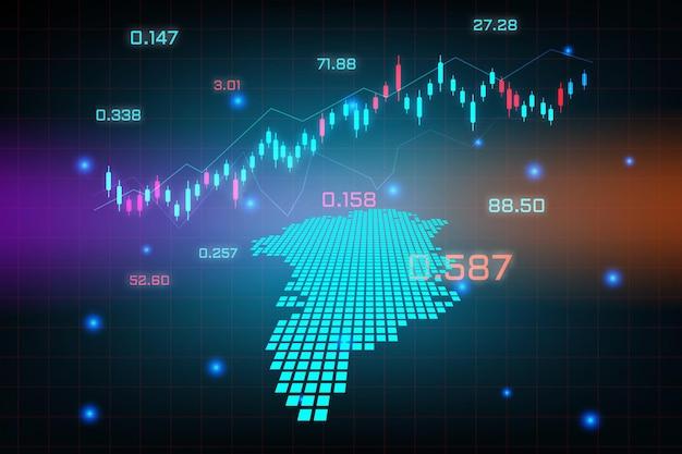 グリーンランドマップの金融投資コンセプトの株式市場の背景または外国為替取引ビジネスグラフチャート。