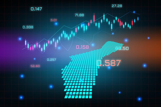 Guamマップの金融投資コンセプトの株式市場の背景または外国為替取引ビジネスグラフチャート。
