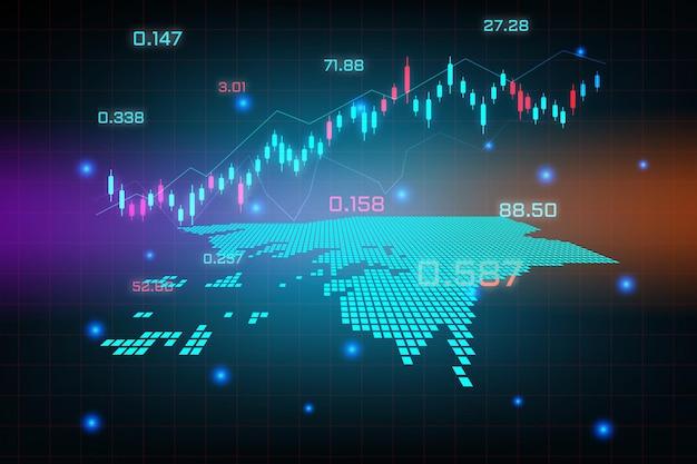 ギニアビサウマップの金融投資コンセプトの株式市場の背景または外国為替取引ビジネスグラフチャート。
