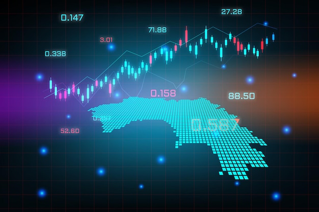 ギニアマップの金融投資コンセプトの株式市場の背景または外国為替取引ビジネスグラフチャート。
